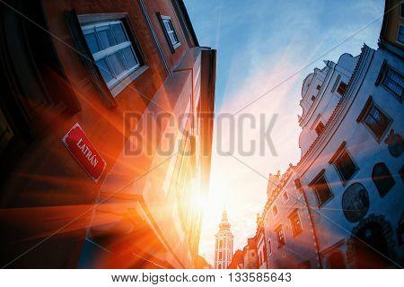 Sunset over Carlovy Vary, Czech Republik. building street