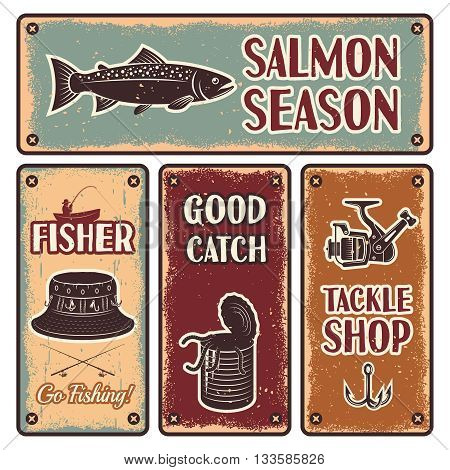 Four horizontal and vertical fishing iron emblem set with description of salmon season go fishing tackle shop vector illustration