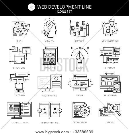 Web development black line icon set with descriptions of programming errors ideas creative debug optimization responsive par example vector illustration