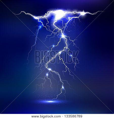 Vector lightning - isolated on dark background, light effects on dark sky