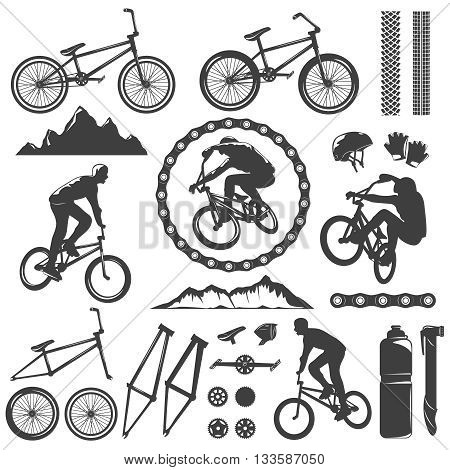 BMX decorative graphic icons set with bike bicyclist chain frame pedal rock track helmet isolated vector illustration