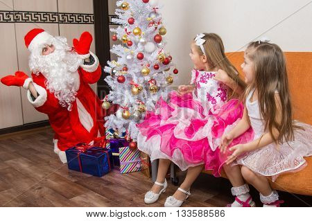 girls saw Santa Claus who brought them gifts