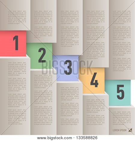 Infographics in old paper style with descending colored numbered items from one to five