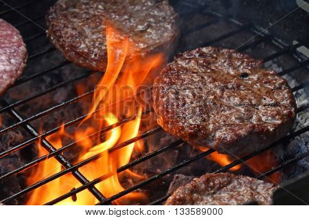 Meat Burgers For Hamburger Grilled On Flame Grill