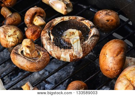 Brown Champignons Mushrooms On Grill