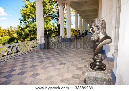 SAINT-PETERSBURG RUSSIA - AUGUST 04 2015: Inside view of the Cameron gallery in Catherine's park in Pushkin (Tsarskoe Selo)