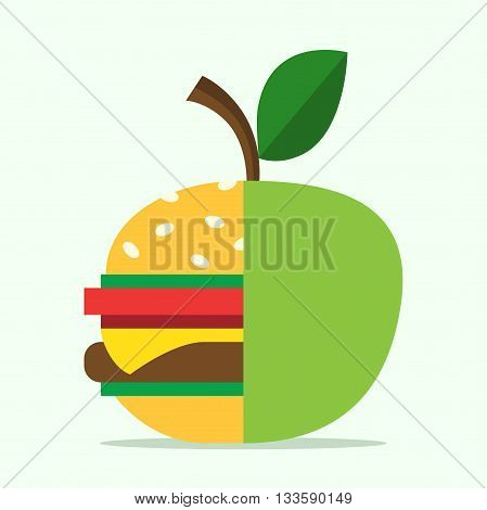 Half hamburger combined with apple. Food healthy eating lifestyle fitness health fruit and diet concept. EPS 8 vector illustration no transparency