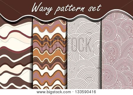Chocolate waves seamless pattern set. Vector illustration for abstract aqua design. Endless texture can be used for fills, web page background, surface. Collection of wallpaper with waves