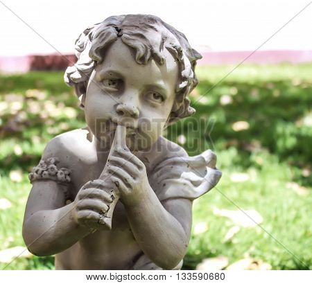 Angel statue flute marble garden decorative decor cherub