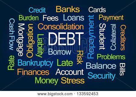 Debt Word Cloud on Blue Background
