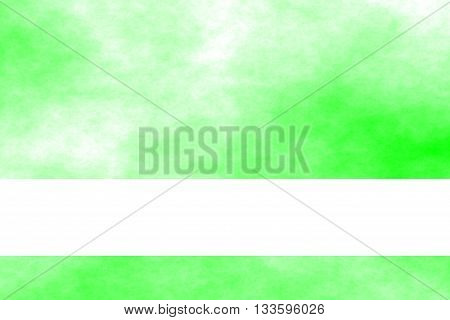 Green and white smoky background with white banner