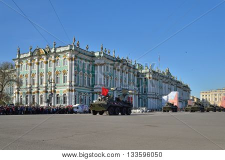 Unit Apc The Ussr Flag On The Palace Square During A Rehearsal O
