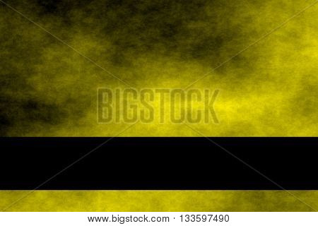 Yellow and black smoky background with black banner