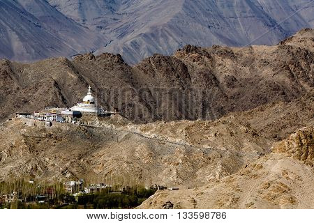 Shanti Stupa near Leh Jammu and Kashmir Ladakh India