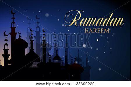 Ramadan Kareem islamic background. Eid mubarak. Islam holly month. Vector illustration of eastern night landscape. Ramadan greeting template. Arabic design. Midnight muslim architecture.