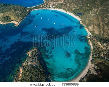Aerial View of the Splendid Rondinara Beach, Corsica, France