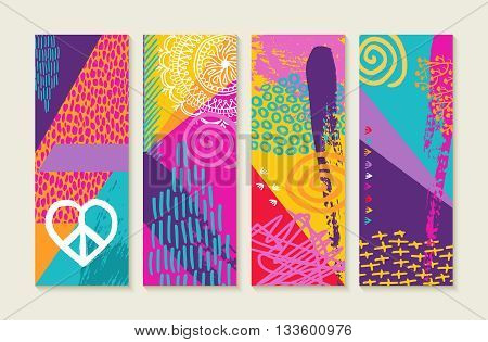 Color Summer Set Design With Nature Art Elements