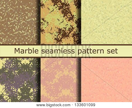Grunge textures set. Marble background Collection. Vector illustration. Grunge seamless pattern set. EPS 10