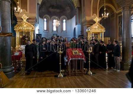 02 may 2016. Staraya Ladoga.The brethren in a Festive Easter service at the St. Nicholas monastery for men in Staraya Ladoga.Russia.