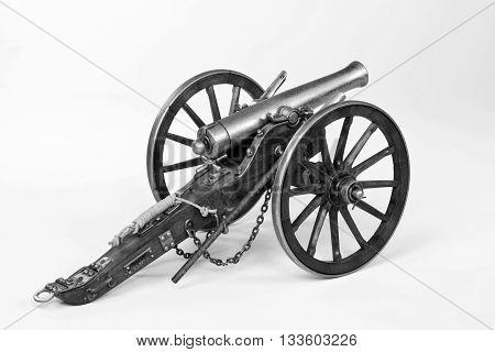 Model of a 1863 Dahlgren cannon in black and white.