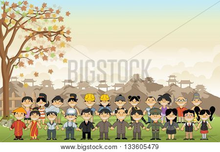 Green grass landscape with chinese happy cartoon people