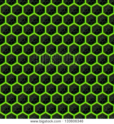 Hexagons of black stone with green streaks of energy. Seamless texture. Technology seamless pattern. Geometric dark background.