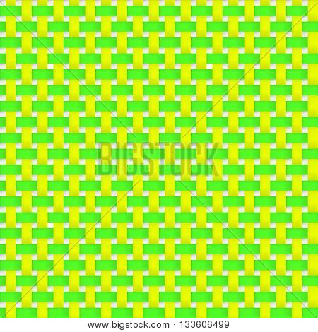 Interlacing paper fabric green and yellow tapes with drop shadows and bending elements. Seamless texture. Seamless pattern. Geometric background.