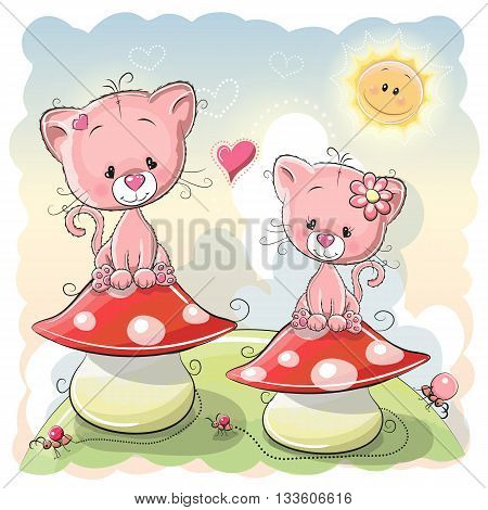 Two Cute Cartoon kittens are sitting on mushrooms