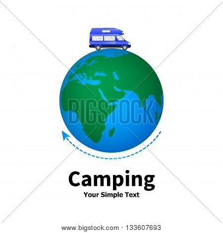 Vector illustration of a concept of camping. Planet earth with car camping. Travelling by car. Isolated on white background.