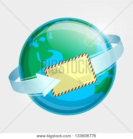 Eastern hemisphere of globe, envelope par avion and arrow around terrestrial globe. Airmail delivery throughout the world