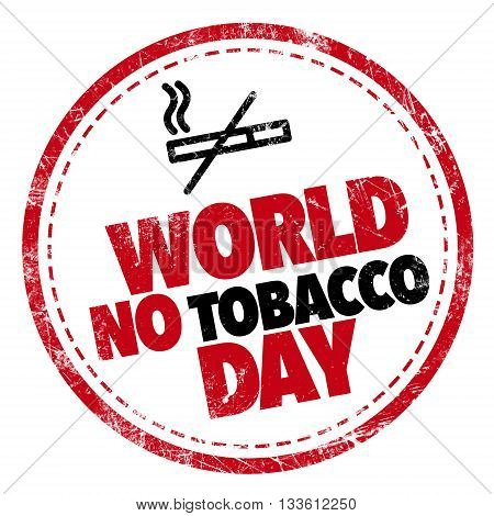 world no-tobacco day red and black stamp
