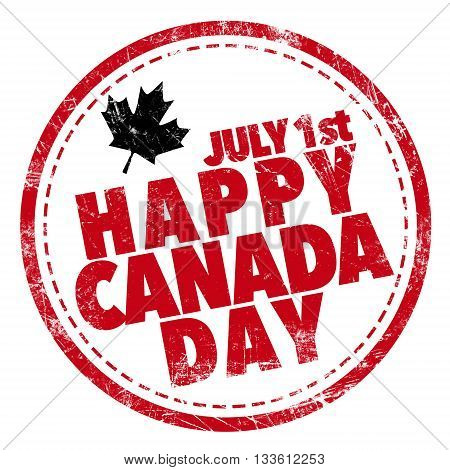 Happy Canada Day on red stamp white background