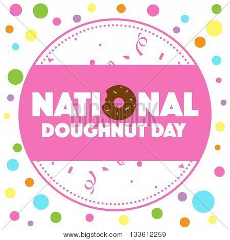 National Doughnut Day word on colorful card