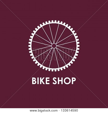 Modern Illustration of bicycle wheel. White outline disk isolated on a vinous background. For use as design element or logo for Bike Shop. Sport accessory made in trendy thin line style vector.