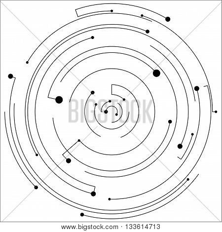 Vector black dot background. Abstract shape pattern. Technology monochrome background for web and print design. Random circle shapes. Big and small black points. Illustration with black dots ray.