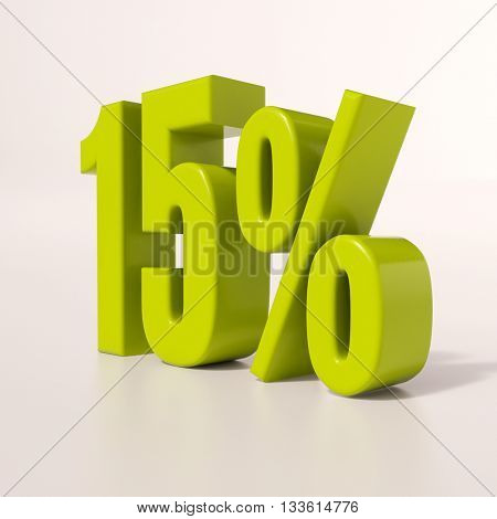 3d render: green 15 percent, percentage discount sign on white, 15%