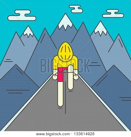 Modern Illustration of cyclist on the road. Colorful bright bicyclist in yellow jersey on mountains background. For use as design element or poster. Bicycle racer made in trendy flat style vector.