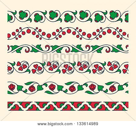 Decorative ornamental seamless vector borders. Vintage tape ornament. Set of floral tape ornaments. Vector illustrator