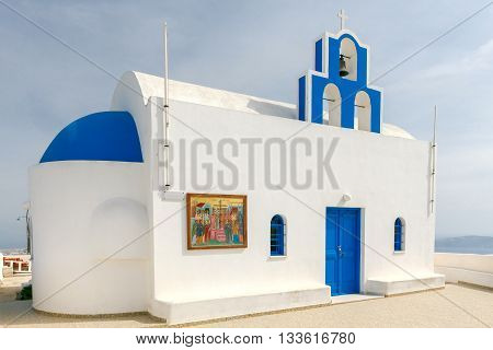 Traditional Greek Christian church in the town Fira. Greece. Santorini.
