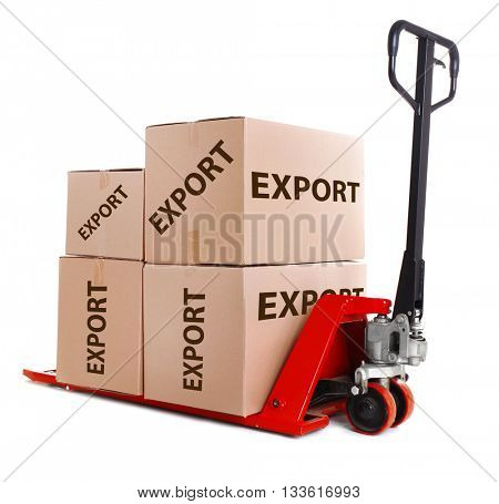Fork pallet truck with carton boxes and text Export isolated on white