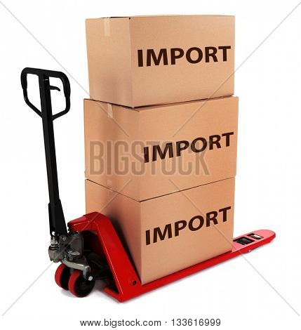 Fork pallet truck with carton boxes and text Import isolated on white