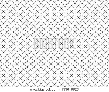 Rusty chain link fencing isolated on white background, metal fence diamond pattern