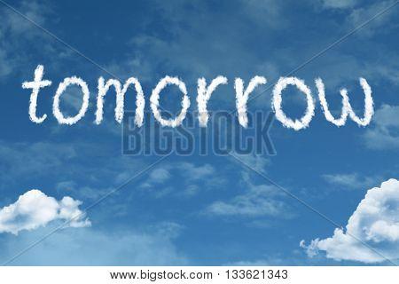 Tomorrow cloud word with a blue sky