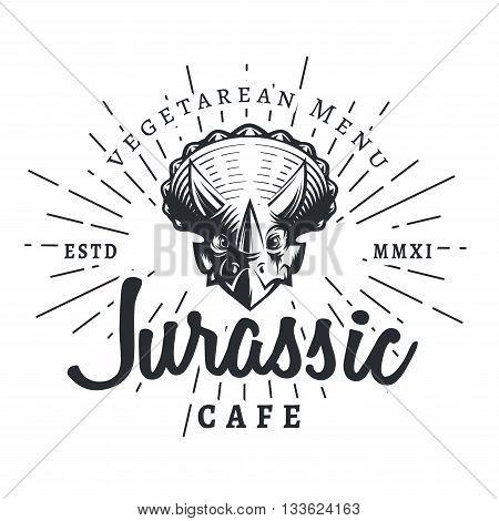 Jurassic cafe logo template. Dinosaur vegetarean menu logotype. Dino tattoo studio design. Vector sunburst label. Cretaceous period park retro illustration. Fury Dino insignia concept. Ancient world badge.