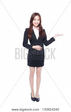 business woman show something in full length isolated in white background asia beauty