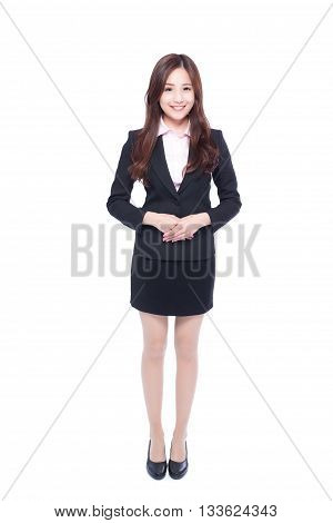 business woman stands in full length asia beauty