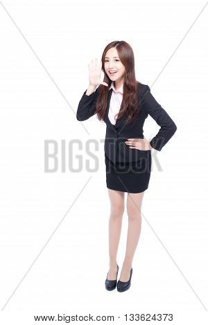 business woman stands in full length shouting asia beauty
