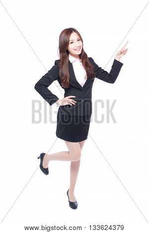 business woman stands in full length pointing something asia beauty