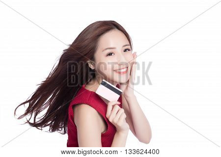 woman shows her credit card putting her hand on her face asia beauty