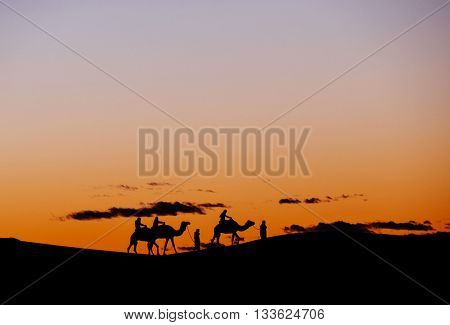 A small group of tourists during a camel trekking at sunset through the Erg Chebbi Dunes. Merzouga, Morocco, Africa.
